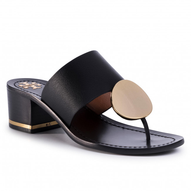 Infradito TORY BURCH - Patos Disk 45mm Sandal Calf Leather 63575 Perfect Black 006