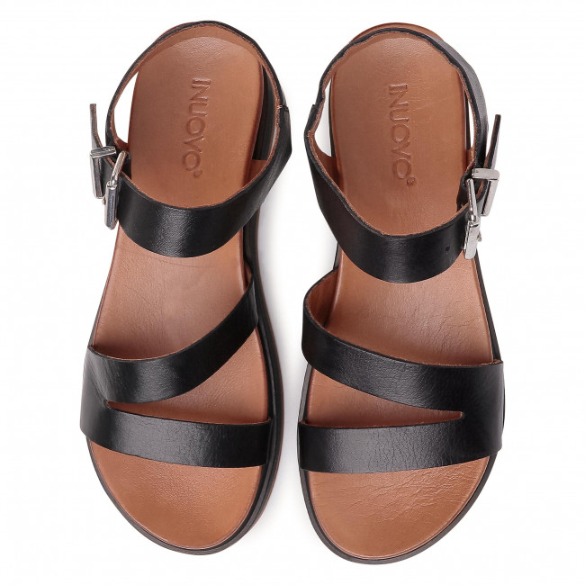 Sandali INUOVO - 112052 Black - Zeppe - Ciabatte e sandali - Donna