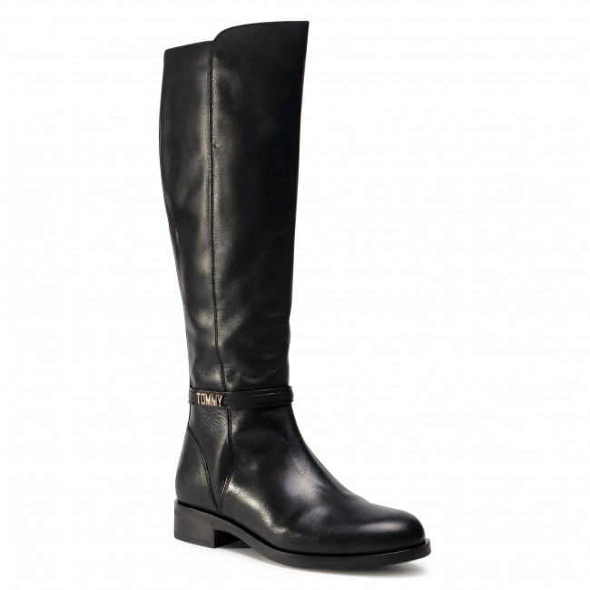 Stivali al ginocchio TOMMY HILFIGER - Block Branding Flat Long Boot FW0FW05167 Black BDS