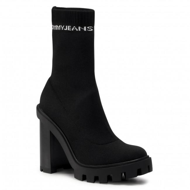 Tronchetti TOMMY JEANS - Cleated Heel Sock Boot EN0EN01081 Black BDS