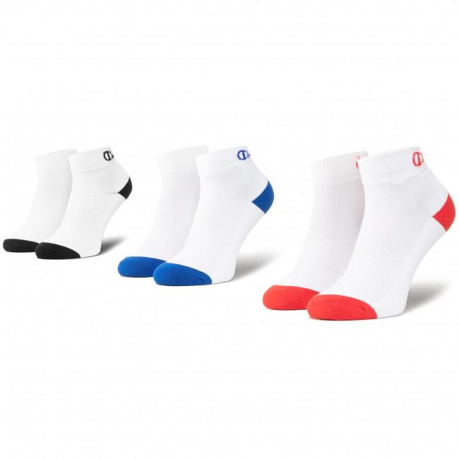 Set di 3 paia di calzini corti unisex CHAMPION - CH00082D 8LZ Wht Col Toe