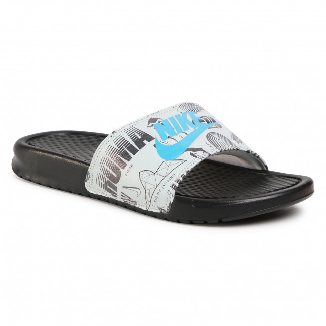 Ciabatte NIKE -  Benassi Jdi Print 631261 041 Black/Blue Fury/Summit White