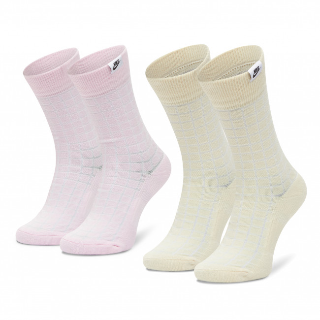 Set di 2 paia di calzini lunghi unisex NIKE - CK5590-902 Beige Rosa