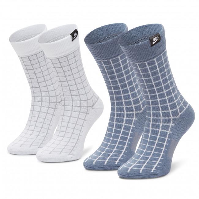 Set di 2 paia di calzini lunghi unisex NIKE - CK5590-904 Bianco Blu