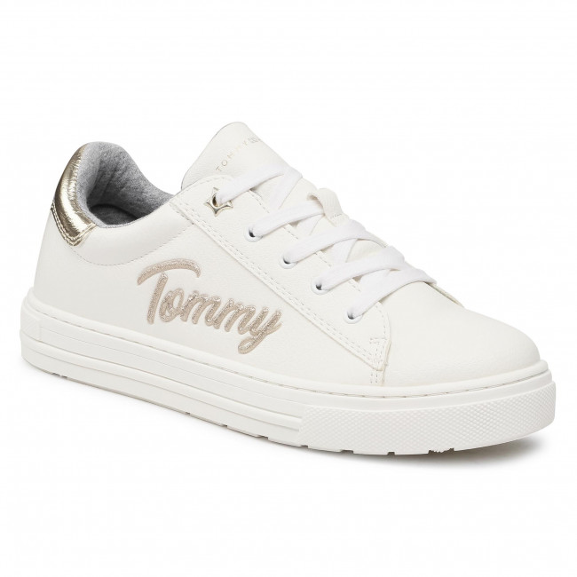 Sneakers TOMMY HILFIGER - Low Cut Lace-Up Sneaker T3A4-31024-1190 S White/Platinum X048