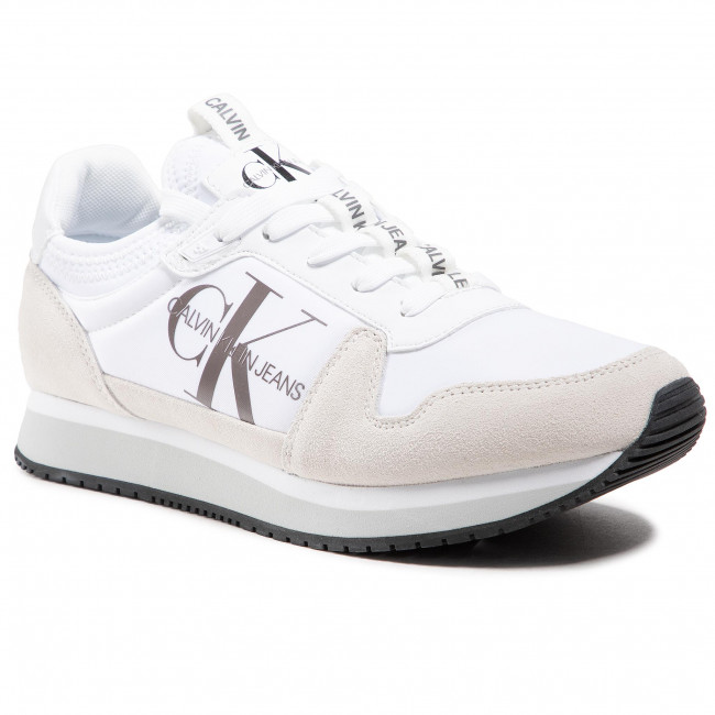 Sneakers CALVIN KLEIN JEANS - Runner Sock Laceup Ny-Lth YM0YM00040 Bright White YAF