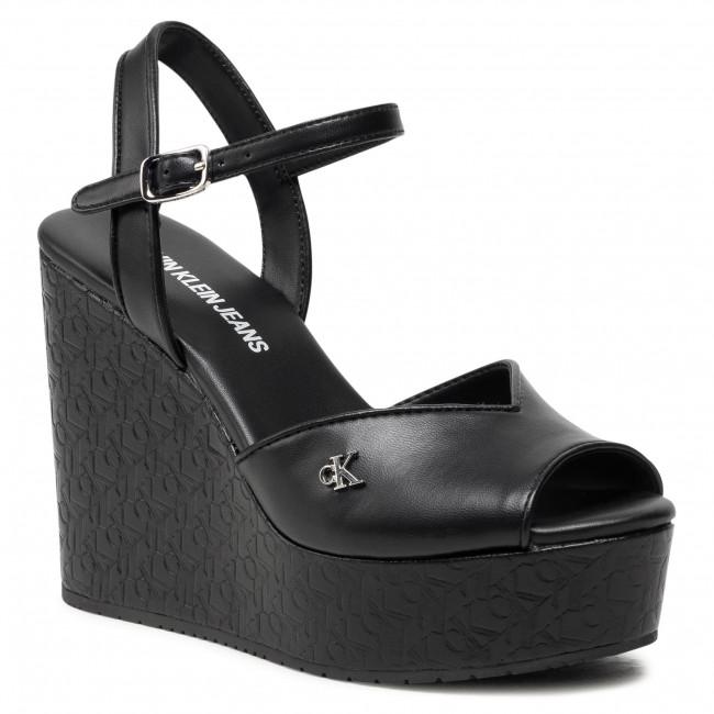 Sandali CALVIN KLEIN JEANS - Wedge Sandal Ankle Aop Pa-Pl YW0YW00033 Black BDS