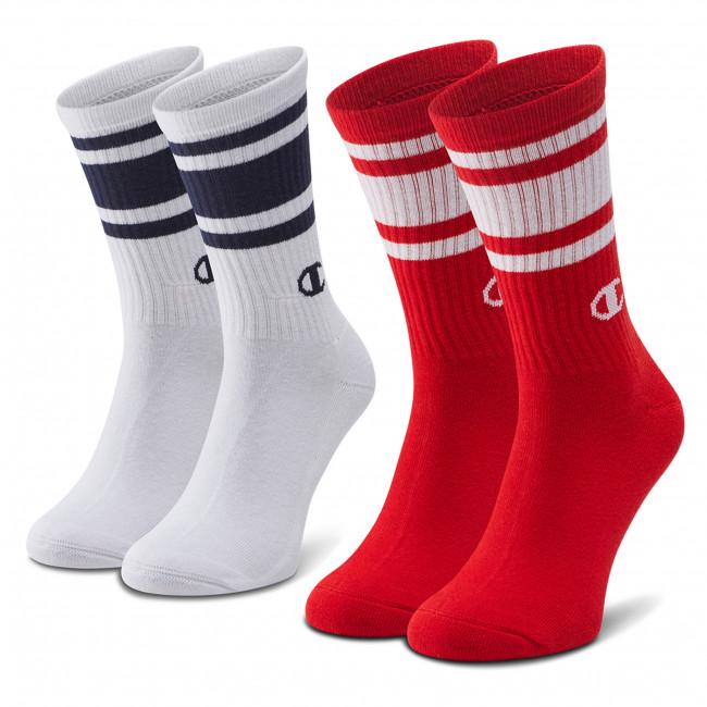 Set di 2 paia di calzini lunghi da uomo CHAMPION - CH0008SU-9GG White/Red