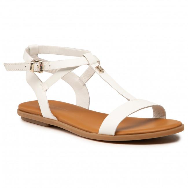 Sandali TOMMY HILFIGER - Feminine Leather Flat Sandal FW0FW05628 Ecru YBL