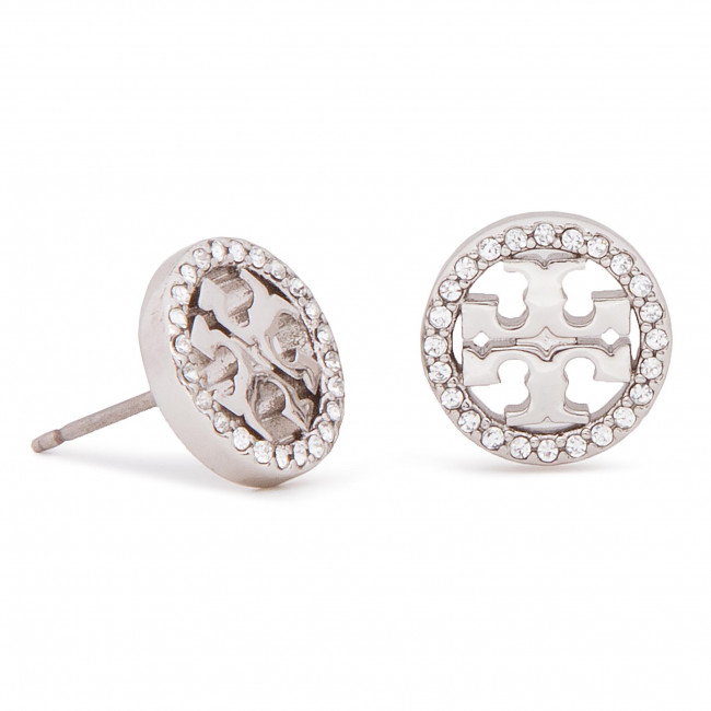 Orecchini TORY BURCH - Crystal Logo Circle Stud Earring 53422 Tory Silver/Crystal 042