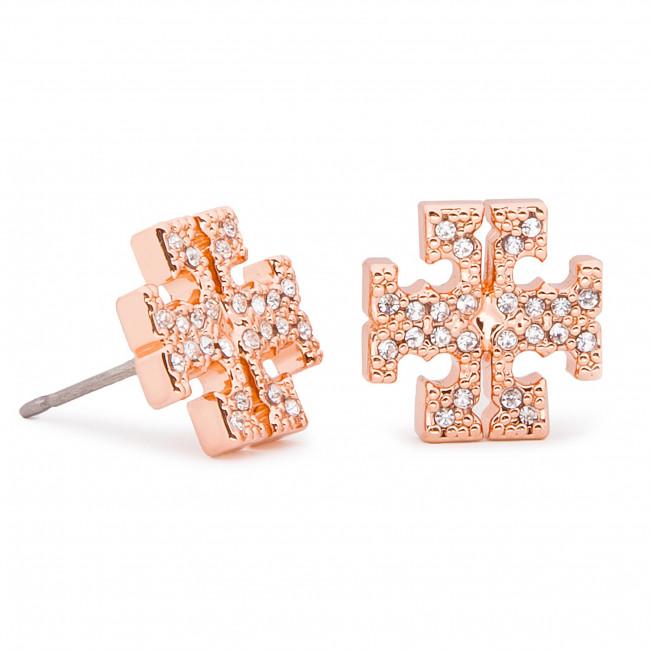 Orecchini TORY BURCH - Crystal Logo Stud Earring 53423 Rose Gold/Crystal 696