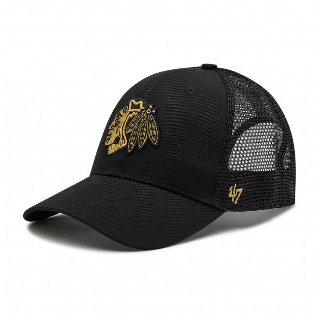 Cappello con visiera 47 BRAND - Chicago Blackhawks H-BRMTL04CTP-BK Nero
