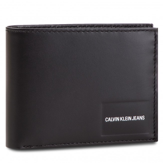 Portafoglio grande da uomo CALVIN KLEIN JEANS Coated Canvas Bilfold Coin Pass K40K400831 001
