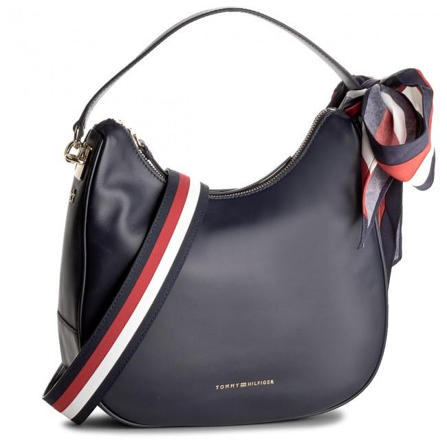 Borsa TOMMY HILFIGER Iconic Foulard Leather Sm Hobo AW0AW04962 413
