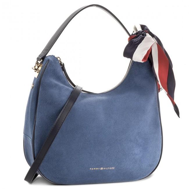 Borsa TOMMY HILFIGER Iconic Foulard Leather Sm Hobo Suede AW0AW04984 484
