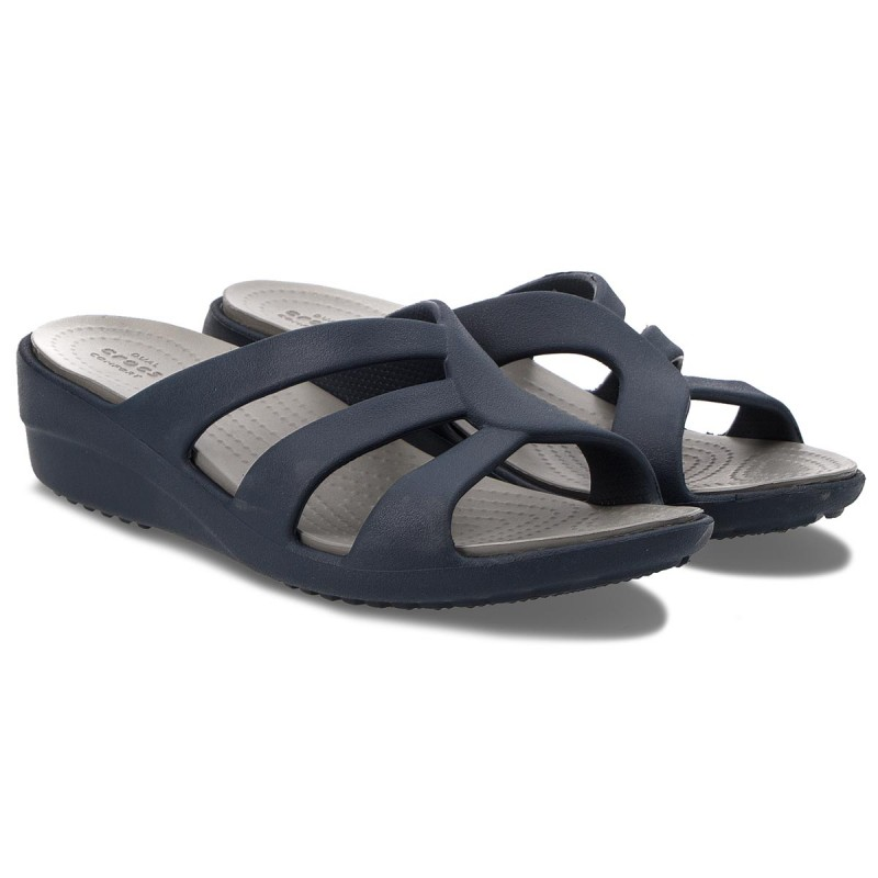 Ciabatte CROCS - Sanrah Strappy Wedge 204010 Navy/Smoke 9AHlQhM2YR