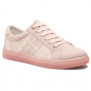083ba77e44 Sneakers TOMMY HILFIGER - Sparkle Satin Essential Sneaker FW0FW03694 Silver  Peony 658