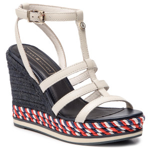 Hilfiger Sandali Elevated Leather Tommy Fw0fw03946 Flat Sandal R3Aq54jL