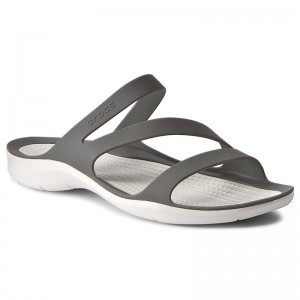 Crocs Donna Tempo Libero Infradito Womens swiftwater Flips Smoke White