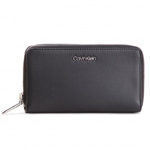0390a50381 Portafoglio grande da donna CALVIN KLEIN Stitch Double Ziparound K6K604864 Black  001