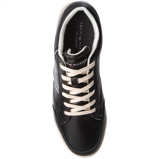 Uomo Scarpe Basse Sneakers Tommy Hilfiger - Corporate Detail Leather Sneaker Fm0fm01620 Black 990