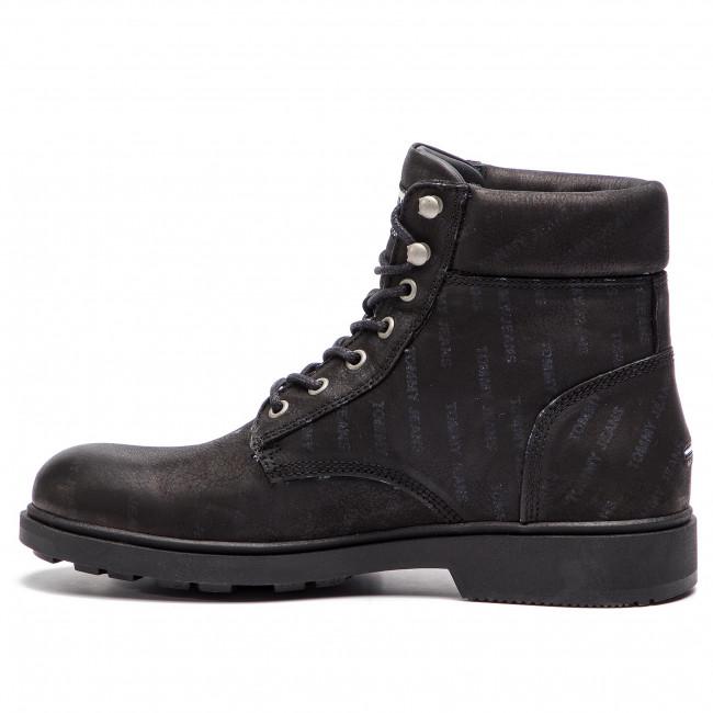 Uomo Stivali E Altri Tommy Jeans - Embossed Nubuck Boot Em0em00234 Black 990