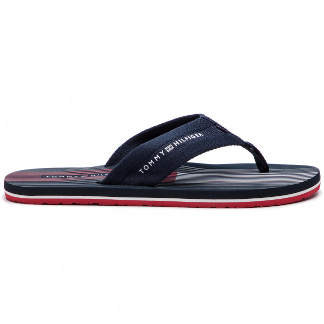 Uomo Ciabatte E Sandali Infradito Tommy Hilfiger - Striped Footbed Beach Sandal Fm0fm01933 Midnight 403